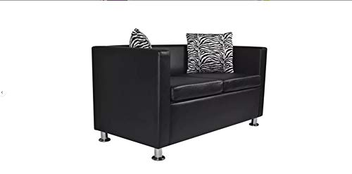 Hanper Ledersofa, 2-Sitzer-Sofa Wohnzimmer-Lounge-Sofa Modernes Wohnzimmer-Ledersofa Schwarz 120 x 62,5 x 63 cm