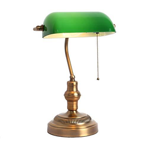 テーブルランプ、ホテルのテーブルランプ展覧会のテーブルランプ銀行ライト, 照明器具:バンカーズライト (グリーンメタル)