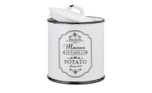 Kartoffelbox Kartoffeltopf Vorratsdosen Set shabby chic Keramik Schwarz Weiß Luftdicht mit Deckel