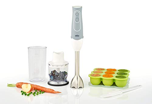 Braun MultiQuick 5 Maker and Hand Blender Patented Technology - Powerful 350 Watt - Dual Speed - Includes Beaker, Whisk, 2-Cup Chopper, Silicon Baby Food Freezer Tray, Spatula