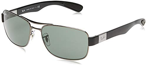 Ray-Ban Unisex RB3522 Sonnenbrille, Grau (Gestell: Gunmetal, Gläser: Grün Klassisch 004/71), X-Large (Herstellergröße: 61)