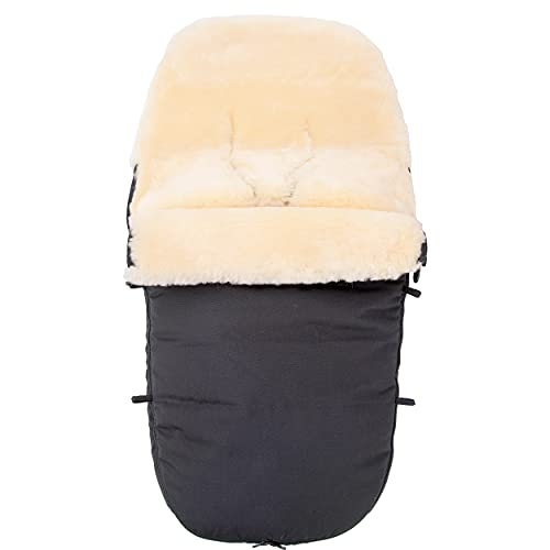 Merauno® Saco de abrigo para bebé de piel de cordero, para cochecito, saco de abrigo para cochecito, resistente al viento y al agua, con cremallera completa, curtida médicamente 90 x 50 cm (negro)