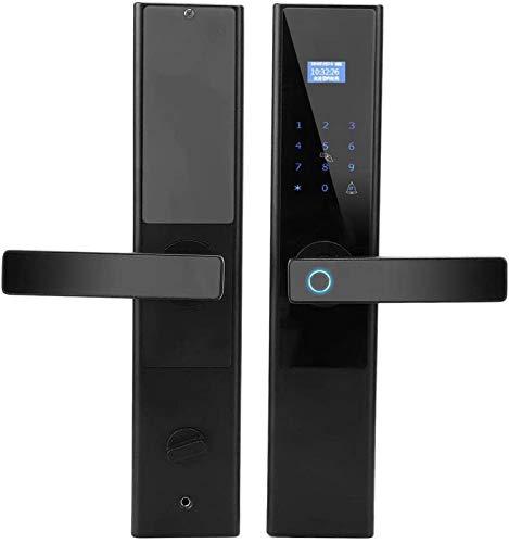 Cerradura puerta, cerradura puerta inteligente con huella dactilar, control remoto sin llave con contraseña, abridor cerradura seguridad con pantalla LCD, timbre, tarjeta identificación, para puerta