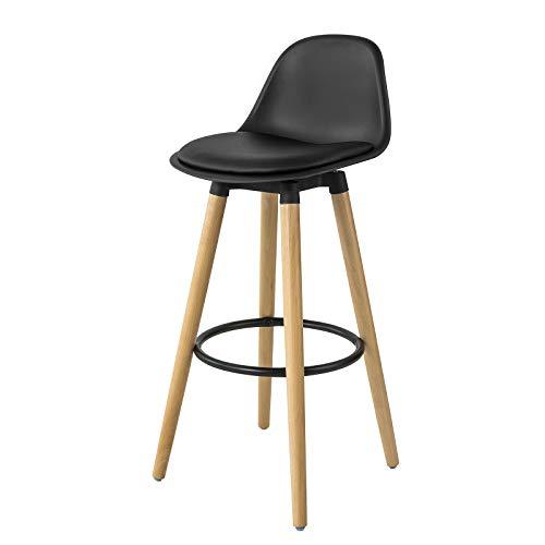 SoBuy FST70-SCH Barhocker mit Fußstütze Barstuhl Tresenhocker Barstuhl mit Rücklehne schwarz Beine aus Buche Sitzhöhe: 70cm