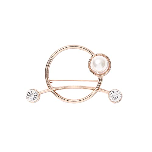 Bodhi2000 Broche de moda accesorio anillo broche imitación perla anti-expuesto todo partido aleación Rhinestone bufanda Clip, mujeres niñas fiesta decoración oro