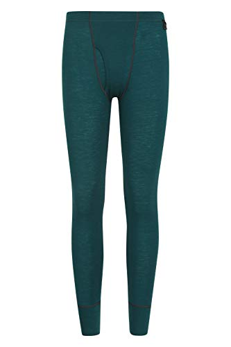 Mountain Warehouse Mens Merino Thermal Base Layer Trousers - Lightweight Mens Pants, Antibacterial, Breathable Bottoms - for Camping in Winter Teal XS
