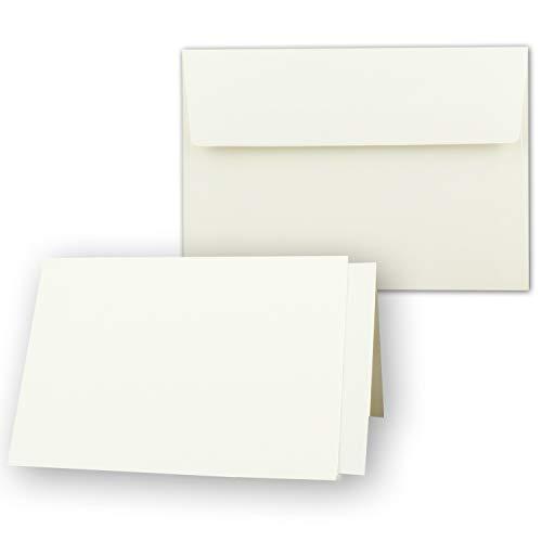 25x Kartenpaket DIN A6/C6 mit Faltkarten in Creme - 10,5 x 14,8 cm - Umschlag mit Haftklebung - Einlegeblätter in Creme - NEUSER PAPIER