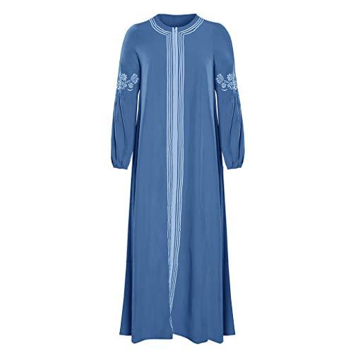 Lazzboy Muslimisches Kleider Frauen Kaftan Arab Jilbab Abaya Spitze Nähen Maxikleid Damen Langarm Abendkleider Muslim Hochzeit Kleidung Saudi-arabien Rockabilly(Hellblau,XL)