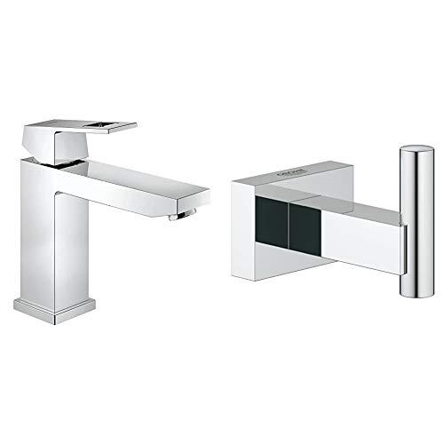 Grohe Eurocube - Grifo de baño, cuerpo liso, caño medio alto, tecnología Grohe EcoJoy (Ref. 23446000) + Grohe Essentials Cube - Colgador de albornoz, fijación empotrada (Ref. 40511001)