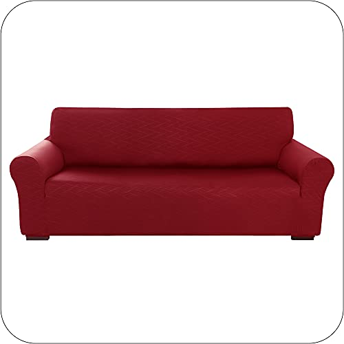 Amazon Brand - Umi Sofabezug Elastische Stretch Sofaüberwurf Geprägte Überzug mit WellenmuSter Wohnzimmer 237x83x89 Rot 4-Sitzer