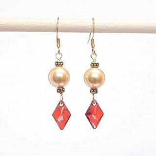 Swarovski Gold Pearl & Crystal Earring - Swarovski Rhombus Red Magma Crystal, 1.5-in