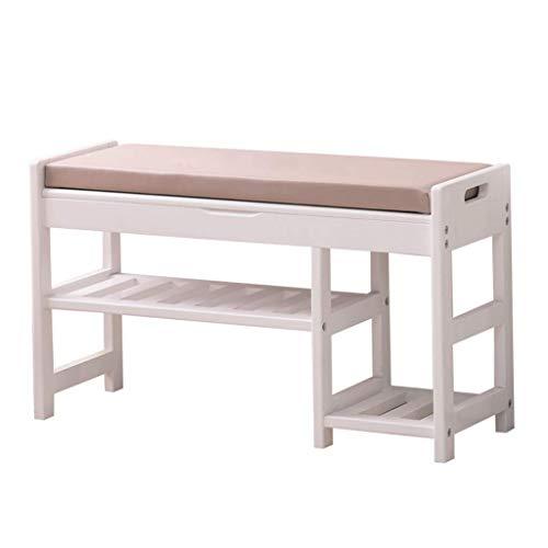 THBEIBEI Ottomans - Cómoda bandeja de madera con parte superior de esponja para muebles de madera maciza con diseño moderno, estantes de almacenamiento para zapatos, banco de pasillo (color: blanco)