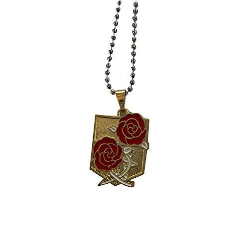 Collar del cuerpo de junta, símbolo con rosas rojas – Cosplay – Manga Dark Fantasy – Mundo de los titanos