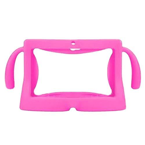 para Universal 7 Inch Tablet Funda Protectora Soft Silicone Cover Skin Shell Protector con Asas de Transporte para niños Niños-Rosado