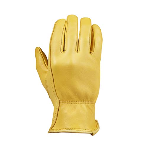 Saranac Woodlands Deerskin Gloves for Women, Gold, Small - Unlined Leather Work Gloves with Ergonomic Design, Reinforced Index Finger - Soft Leather Gardening Gloves - Premium Women's Leather Goods