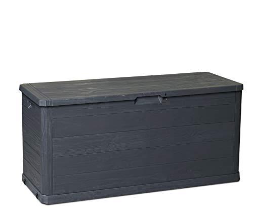 Toomax Baule Multibox Woody's 280L portattrezzi per Esterni, Effetto Legno, Dim. cm 117x45x56h, Art.164 (Antracite)