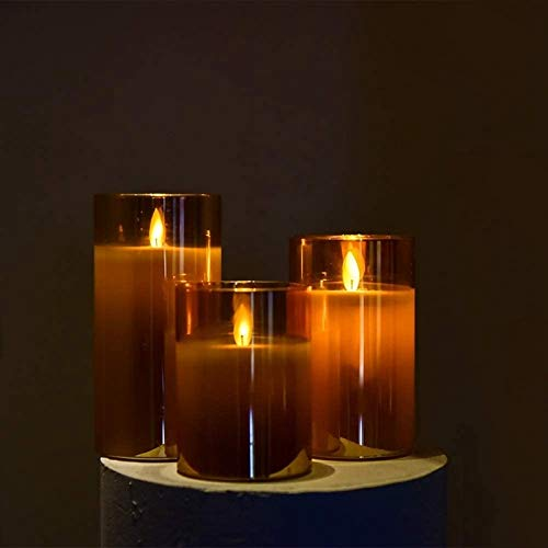 xingguang Flameless candle Amber Glass LED Flameless Candles Flickering with Remote,Battery Operated,For Wedding,Festival Decorations,Gift,3 Pack