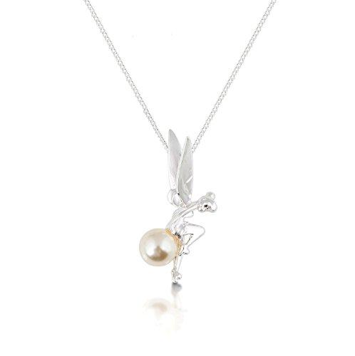 Weißgold-beschichtetes Tinkerbell an einer Perlenkette.
