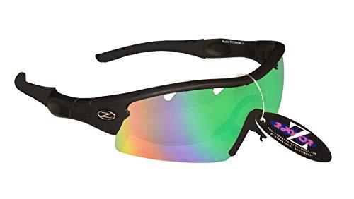 UV400 Pro Sports Wrap Gafas de sol para hombre y mujer, polarizadas al aire libre, color negro, verde, azul iridio espejado)