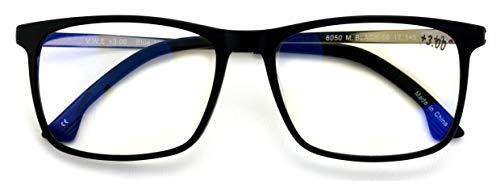 Large Men Premium Rectangular Reader - TR90 With Metal Temple - Blue Light Blocking Reading Glasses - Optical Frame (Matte Black/Silver, 1.75)