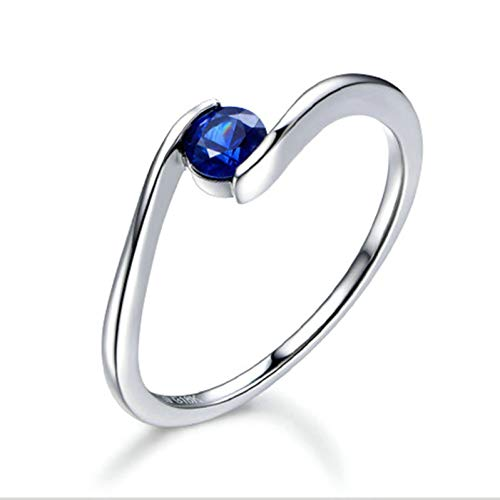 Ubestlove Promise Ring White Gold Womens Gift Sets Sale Clearance Inlaid 0.28Ct Sapphire Ring 0.28Ct H 1/2