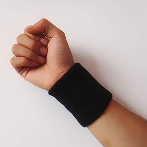 YJTT 1 unids Pulseras de algodón Deporte Banda de la Mano de la Mano de la Mano del Sudor Soporte de la muñeca de Sudor Brace envueltos Guardias Gimnasia de Baloncesto de Voleibol (Color : Negro)