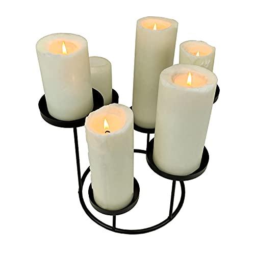 TRCE Portavelas para 6 velas (diámetro 23 x altura 24,6 cm, metal, 6 brazos), color negro