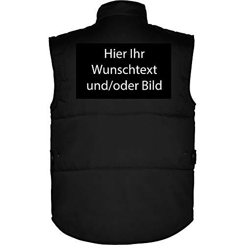 loco Personalisierte Herren Arbeitsweste mit Ihr Wunschtext und/oder Bild L35 (Schwarz, XL)