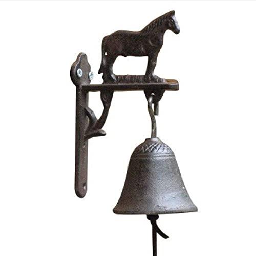 Guomipai Timbre Retro Vintage Hierro Forjado Hierro Caballo Decorativo Cuello Hand-Bells Bells Campanas Decorativas (Color : Iron, Size : 18x10x7.5cm)