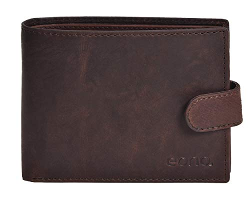 Eono by Amazon 7 Credit Card Leather Wallet- RFID Slim Wallets for Men with 2 ID &Coin Pocket (Brown Crazy Horse)