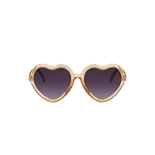 LIANGLMY Gafas de Sol 2021 Hermosos niños Niños Amor del corazón Forma de corazón Gafas de Sol UV Protección Marco Sun Glass para niños para niños Chicas (Farbe : Beige)