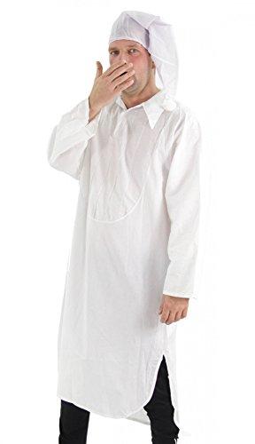 Foxxeo Kostüm Nachthemd mit Schlafmütze - Schlafkostüm Karneval Fasching Größe XL