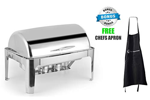 Deluxe Chafer Dish - 8-quart capacity - Full-Size S/S – rectangular – Includes Food Pan, Water Pan and Fuel Holders – and durable, shiny silver, keeps food warm in catered events