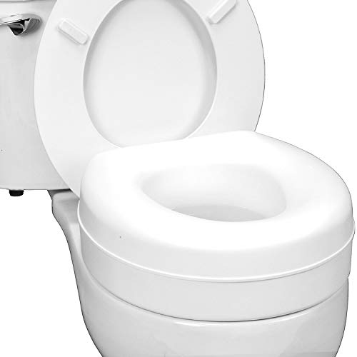 """HealthSmart Portable Elevated Raised Toilet Seat Riser that fits Most Standard Seats, 14.5""""L x 15""""W x 5""""H, White"""