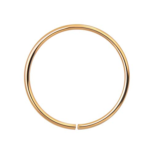 AZARIO LONDON 14K Rose Gold 22 Gauge - 8MM Diameter Seamless Continuous Open Hoop Nose Ring Nose Piercing