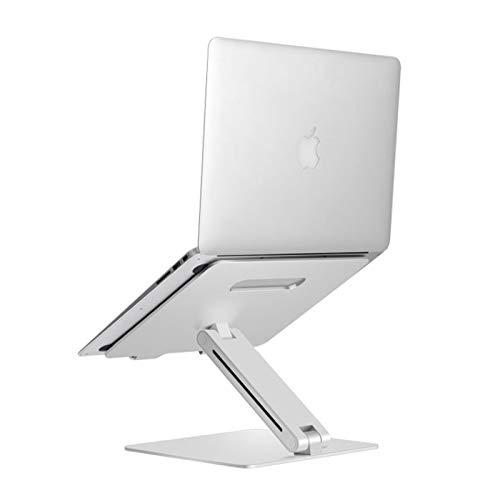 StMiYi Soporte para portátil con ventilación de Aluminio,Adjustable,Escritorio Altura Regulable,Giratorio 90°,Compatible con portátiles (11-15.6 Pulgadas),Incluyendo MacBook Pro/Air Surface,Plata
