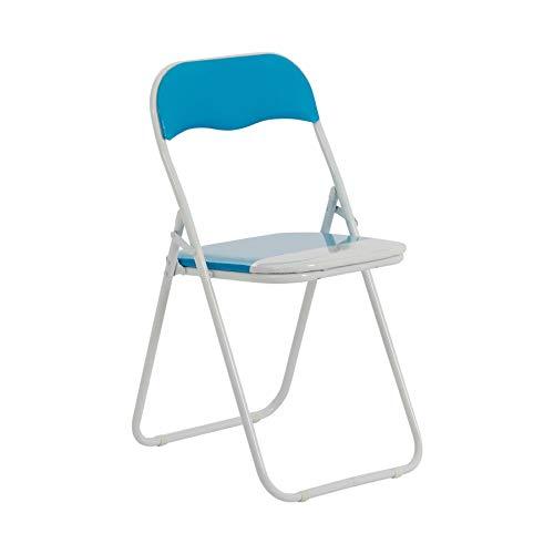Chaise pliante rembourrée - pour le bureau - bleu ciel/blanc