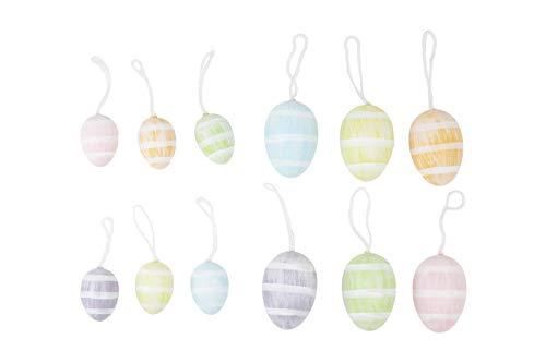 HEITMANN DECO Ostereier mit Streifen zum Aufhängen aus Plastik - Bunte Osterdeko, Frühlingsdeko, Ostern, Frühling - Verschiedene Größen und Farben