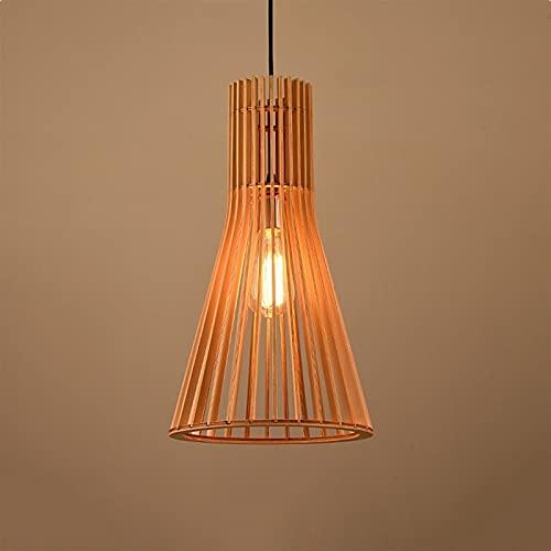 E27 Lámpara colgante de madera maciza, estilo minimalista Arte de madera Lámpara de arte hueco Cono de bambú Cocina Cocina Cocina Restaurante Decoración de iluminación