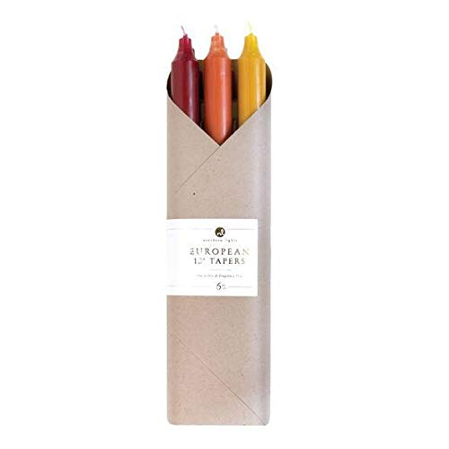 Northern Lights Autumn Harvest Premium 12 Inch Taper Candles – Smokeless Dripless, 6 Piece Boxed Set
