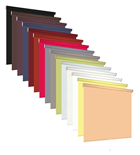 Klemmfix Springrollo Rollo ohne Bohren viele Größen und Farben Stoff blickdicht lichtdurchlässig Fenster klemmbar Bedienung Mittelzug Sonnenschutz Blendschutz (Größe 72 x 180 cm, Farbe Dunkelgrau)
