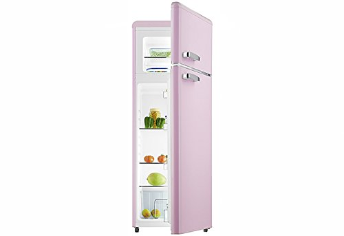 Retro Kühl-Gefrier-Kombination Pink Glanz GK212.4RT A++ 206 Liter Nostalgie Design Kühlschrank