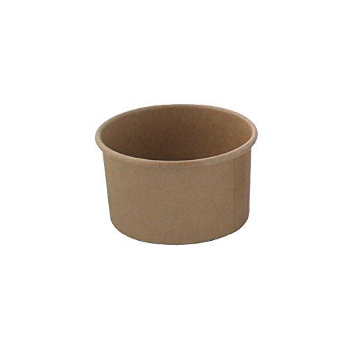 Brown Kraft Soup Cups (Case of 50), PacknWood - Recyclable Paper Bowls for Hot & Cold Foods (8 oz, 3.6' x 2.3') PK210SOUPK8K