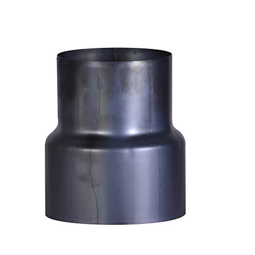 FIREFIX O120/R Blauglanzblech Reduzierungsstück Ofenanschluss ø 120 auf Wandanschluss ø 100 mm, ø 120 mm-Ofenrohre aus Stahlblech, 0,6 mm stark, gebläut, innenliegend gemufft, Längen lasergeschweißt