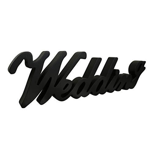 CVHOMEDECO. Panneau de mots en bois noir mat sur pied pour table de mariage, étagère, mur, décoration de fête, art 38,1 x 10,2 x 2,5 cm
