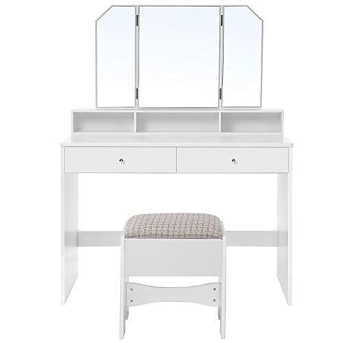 VASAGLE Vanity Set, Dressing Table Set with Tri-Fold Mirror, Large Table Top, 2 Drawers, 3 Open Compartments, Cushioned Stool, Gift Idea, White URDT115W01