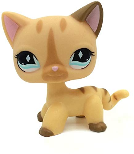 N/N Littlest Pet Shop, LPS Toy LPSs Figure Rare Short Hair Stand Cat Cream Diamond Stripe