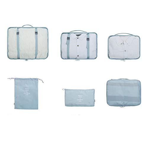 Rouku 6pcs/set Travel Bags Travel Organizers Packing Bags Travel Packing Cubes Set Travel Luggage Organizers Clothes Shoes Storage Bags(gray blue)