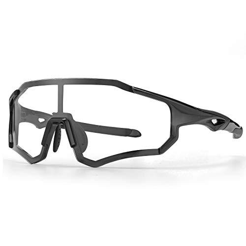 ROCKBROS Radsport Brille Photochrome für Männer Frauen mit UV400 Schutz Selbsttönende Fahrradbrille für Radfahren, Autofahren, Laufen, Angeln, Biking TR Rahmen