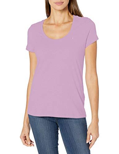 Nautica Women's Easy Comfort Scoop Neck Supersoft 100% Cotton Solid T-Shirt, Lavendula, X-Large
